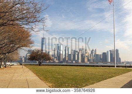 New York, Usa - November 25, 2019: View Of The Manhattan Skyline From Ellis Island.