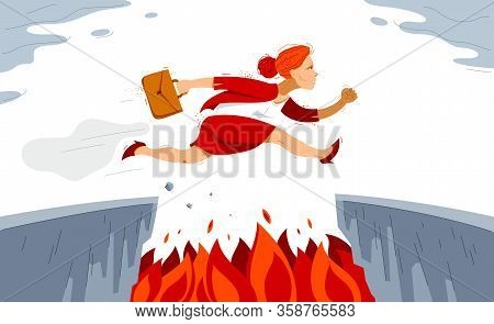 Businesswoman Jumps Through Gap, Business Risk Concept Vector Illustration, Woman Employee Worker Le