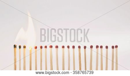The line with matchsticks and one by one are igniting
