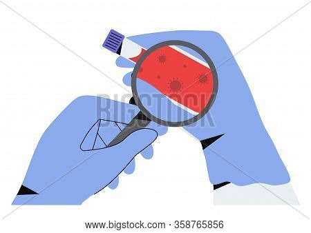 Doctor Or Laboratory Medical Staff Hands In Gloves Holding Coronavirus Test Tube With Blood Sample O
