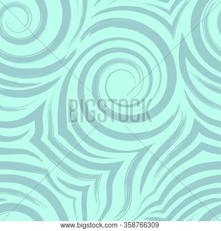 Vector Seamless Pattern Of Spirals And Curls. Abstract Turquoise Texture For Fabrics Or Wrapping Pap