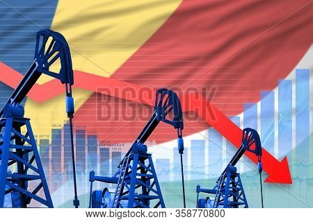 Seychelles Oil Industry Concept, Industrial Illustration - Lowering, Falling Graph On Seychelles Fla