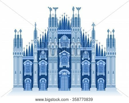Milan Cathedral Blue Illustration Flat Style.stock Vector New Style