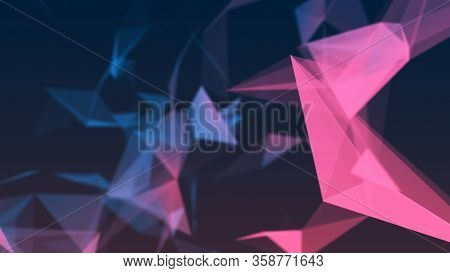 Blurred Abstract Background Of Multiple Connected Triangles. Digital Futuristic Business Wallpaper.