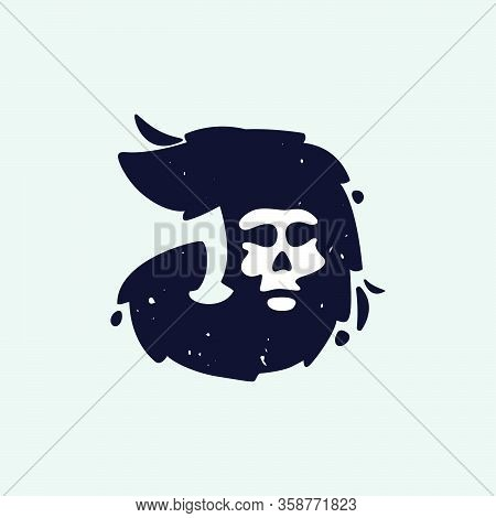 J Letter Logo With Skull Face. Hand Written Shaggy Grunge Style. Perfect Typeface For Horror Labels,