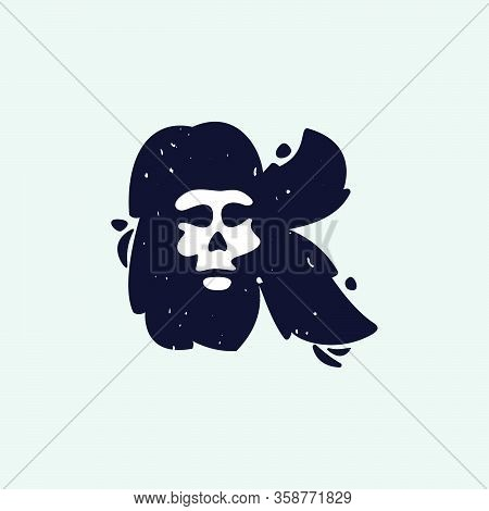 K Letter Logo With Skull Face. Hand Written Shaggy Grunge Style. Perfect Typeface For Horror Labels,