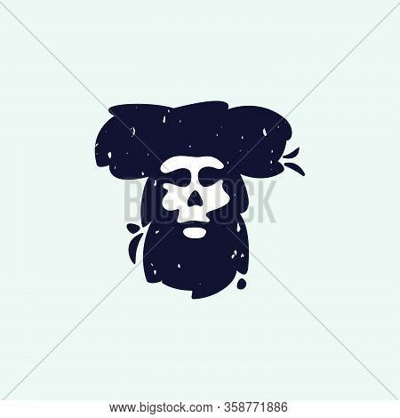 T Letter Logo With Skull Face. Hand Written Shaggy Grunge Style. Perfect Typeface For Horror Labels,