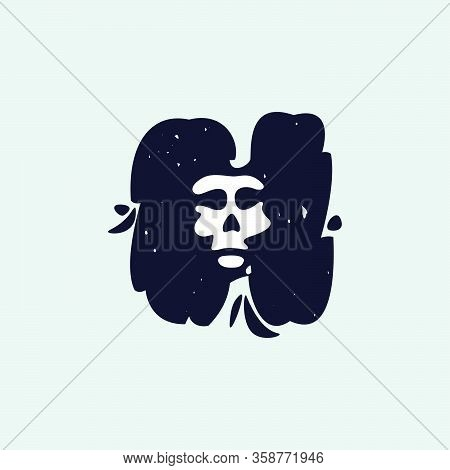 H Letter Logo With Skull Face. Hand Written Shaggy Grunge Style. Perfect Typeface For Horror Labels,