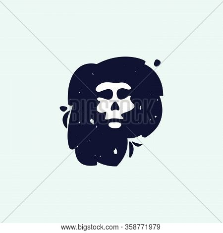 P Letter Logo With Skull Face. Hand Written Shaggy Grunge Style. Perfect Typeface For Horror Labels,