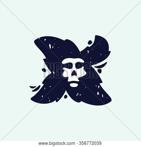 X Letter Logo With Skull Face. Hand Written Shaggy Grunge Style. Perfect Typeface For Horror Labels,