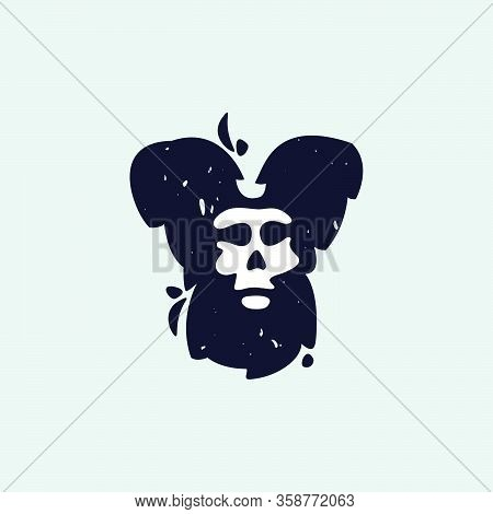 Y Letter Logo With Skull Face. Hand Written Shaggy Grunge Style. Perfect Typeface For Horror Labels,