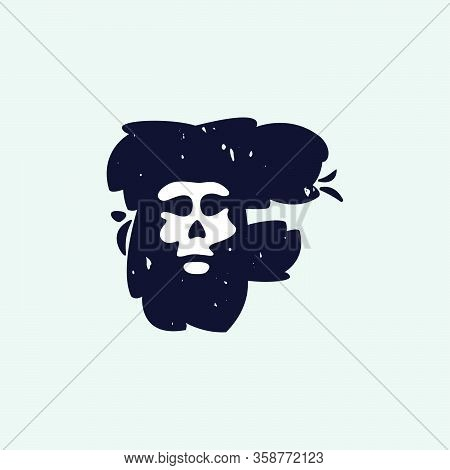 F Letter Logo With Skull Face. Hand Written Shaggy Grunge Style. Perfect Typeface For Horror Labels,