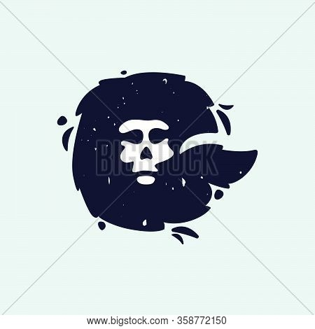 G Letter Logo With Skull Face. Hand Written Shaggy Grunge Style. Perfect Typeface For Horror Labels,
