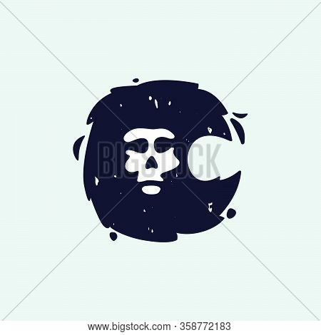 C Letter Logo With Skull Face. Hand Written Shaggy Grunge Style. Perfect Typeface For Horror Labels,