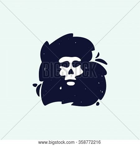 B Letter Logo With Skull Face. Hand Written Shaggy Grunge Style. Perfect Typeface For Horror Labels,