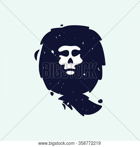 Q Letter Logo With Skull Face. Hand Written Shaggy Grunge Style. Perfect Typeface For Horror Labels,