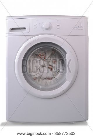 Front view from washer with infected virus clothes on white background.
