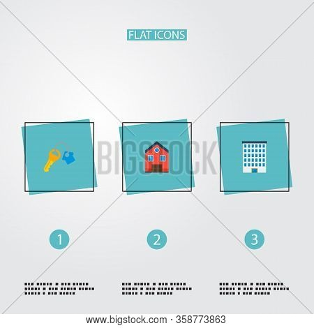 Set Of Realestate Icons Flat Style Symbols With Key, Home, Building And Other Icons For Your Web Mob