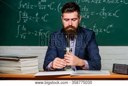 On Way To Success. Teacher Work With Microscope. Science Concept. Scientist With Microscope Chalkboa