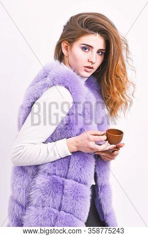 Woman Fur Coat Drink Coffee. Elite Coffee Concept. Elite Coffee Variety Concept. Lady Drink Espresso