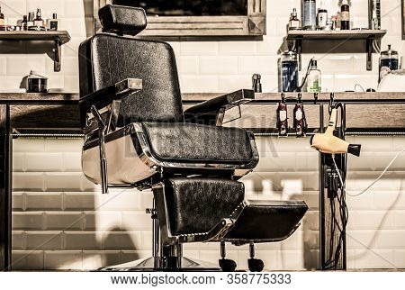 Barbershop Interior. Barber Shop Chair. Barbershop Armchair, Modern Hairdresser And Hair Salon, Barb