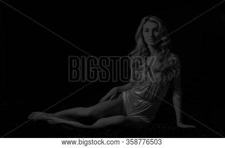 Making Sleepwear Look Sexy. Pin Up Woman In Bodysuit, Striptease. Fashion Beauty. Sexy Woman In Erot