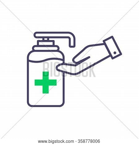 Antiseptic Vector Icon Hygiene Virus Hand Care. Black Shape Silhouette Sign. Washing Hands, Anti Bac