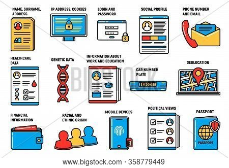 Gdpr Personal Data Protection And Security, Vector Icons. Gdpr General Data Protection Regulation On