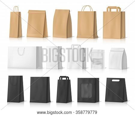 Paper Bag Mockups Of Shopping, Gifts And Food Packages Realistic Vector Design. White, Brown And Bla