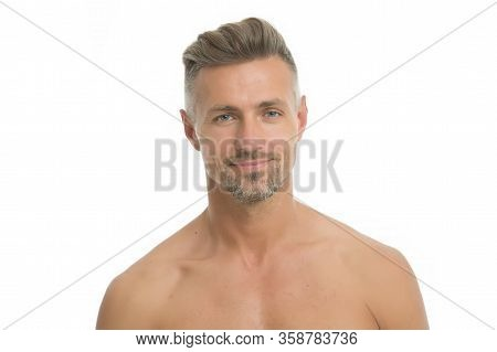 Skincare And Healthcare. Sexy Man Isolated On White. Unshaven Guy With Bare Shoulders Skin. Skin Hea