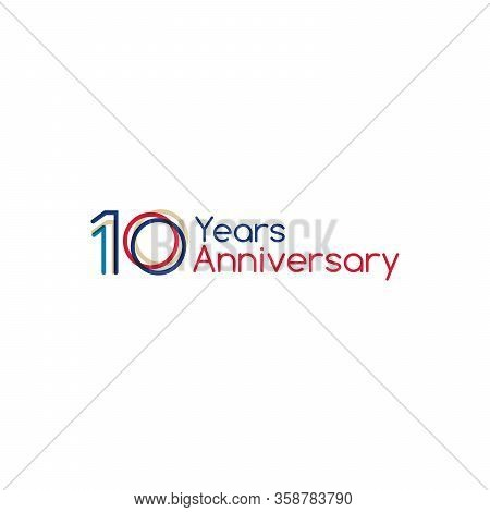10 Years Old Celebrating Typograpgy. Colored Happy Anniversary 10 Th Template Numbers. Greetings Cel