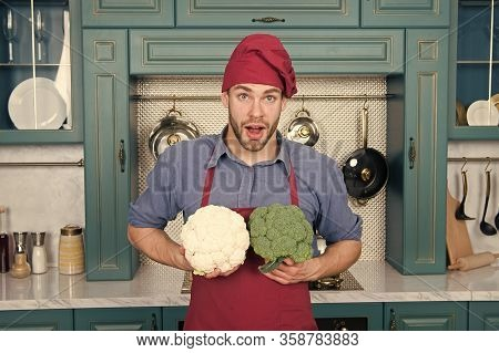 Young Chef Cook Cauliflower. Cauliflower Power Is Mens Health. Significant Source Of Nutrients. Weig