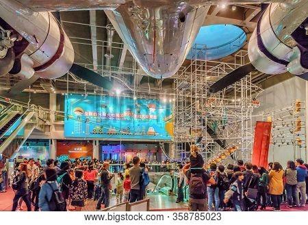 Hong Kong, China - January 20, 2016: Hong Kong Science Museum Interior View. People Watch Attraction