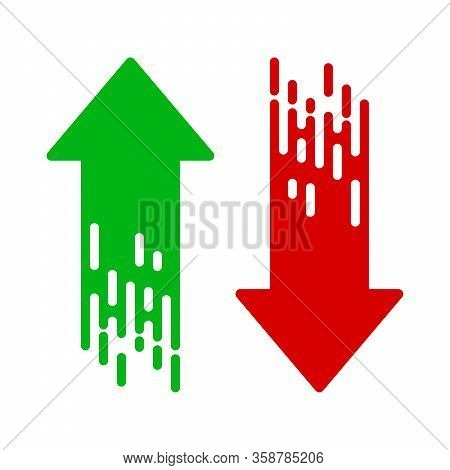 Arrow Icon Isolated. Set Of Abstract Arrows In Flat Style. Vector Illustration. Down And Up Arrows