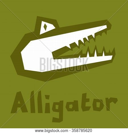 Cartoon Crocodile With Big Teeth. Toothy Crocodile With Open Mouth Side View. Primitive Flat Style,