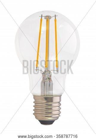 A Filament Style Led Eco Lightbulb On A White Background