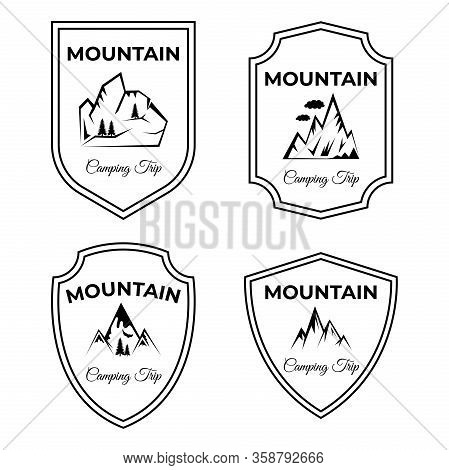 Set Of Mountain, Camping Trip Vector Logo Designs. Peaks Of Mounts With Text Space. Active Lifestyle