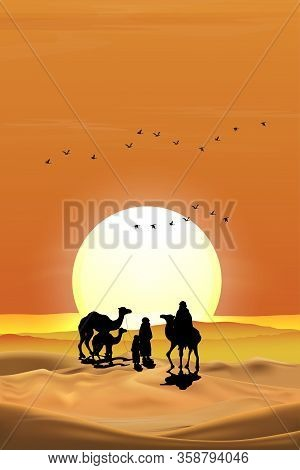 Vector Illustration Arab Family With Camel Walking In Desert Sands With Sunset In Evening,vertical L