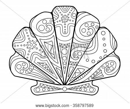 Scallop Shell - Antistress Coloring Book - Vector Linear Picture For Coloring. Shell Scallop Ocean C