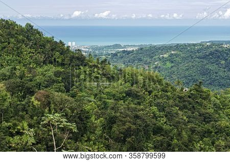 Aerial Of Puerto Rico Coast From Luquillo Mountains At El Yunque