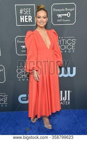 LOS ANGELES - JAN 12:  Olivia Wilde arrives for the 25th Annual Critics' Choice Awards on January 12, 2020 in Santa Monica, CA