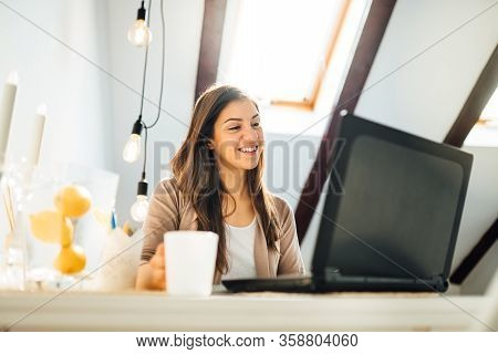Business Woman Working From Home On Laptop Computer.checking Email.working From Distance.online Busi