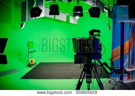 Tv Studio Recording Show.reportage Shooting.tv News Program Studio With Video Camera Lens And Lights