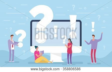 People Asking Questions Around A Huge Question Mark In Computer. Question Mark Concept. Vector Illus