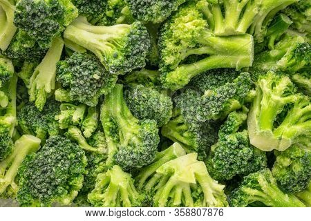 closeup background of frozen broccoli florets, healthy eating concept
