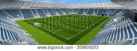 Empty football stadium without spectators due to Covid-19 curfew (3D Rendering)