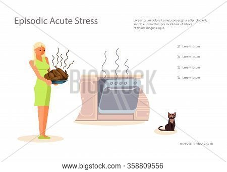 Landing Web Page Template With Concept For Cooking Course. Sad Housewife Is Holding A Dish With A Bu