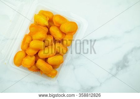 Golden Jackfruit Seeds ,thai Mung Bean And Egg Yolk Dessert (met Khanoon: Thai Dessert ) In Clear Pl