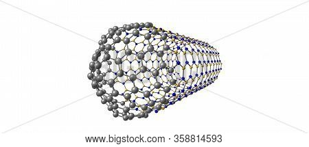 Hybrid Capped Nanotube Formed By Carbon And Boron Nitride Tubes. 3d Illustration