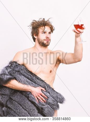 Richness And Luxury Concept. Sexy Sleepy Rich Macho Tousled Hair Drink Wine Isolated On White. Guy A